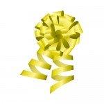 黄色のロール付きボンボンリボンイラスト