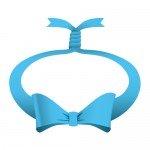 青色の輪っかに縛られたリボンイラスト