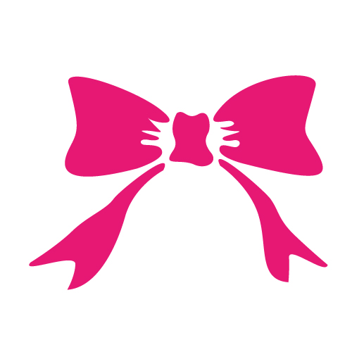 ピンクのリボンシルエットイラスト