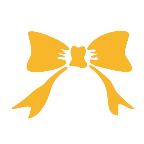 オレンジ色のリボンシルエットイラスト