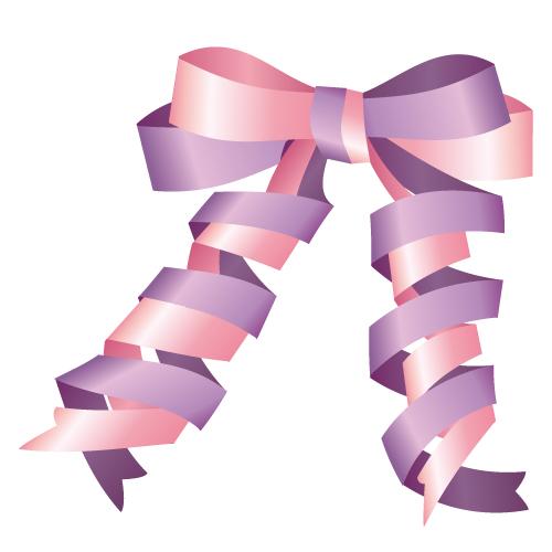 ピンクと紫のリボンイラスト