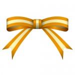 色のオレンジ色のリボンイラスト