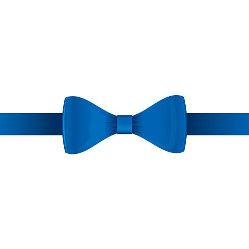 青色の蝶リボンイラスト