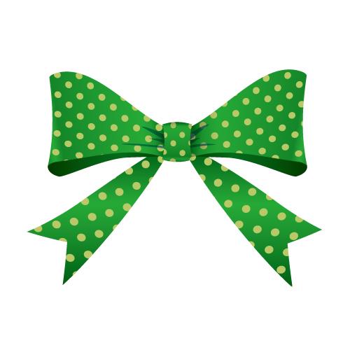 緑色の水玉模様リボンイラスト