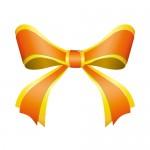 黄色とオレンジ色の重なるリボンイラスト