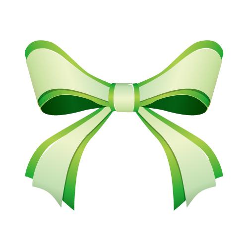 濃淡のある緑色の重なるリボンイラスト