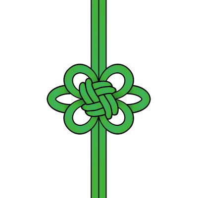 緑色の飾り結び(菊結び)のイラスト