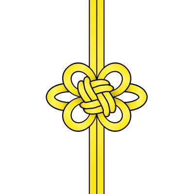 黄色の飾り結び(菊結び)のイラスト