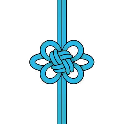 青色の飾り結び(菊結び)のイラスト