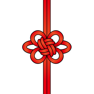 赤色の飾り結び(菊結び)のイラスト