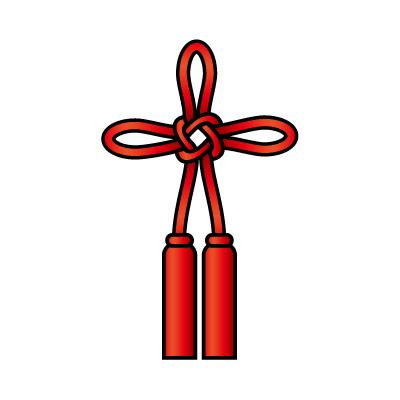 赤色の総角結び(あげまき)のイラスト