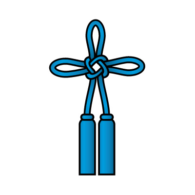 青色の総角結び(あげまき)のイラスト