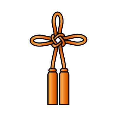 オレンジ色の総角結び(あげまき)のイラスト