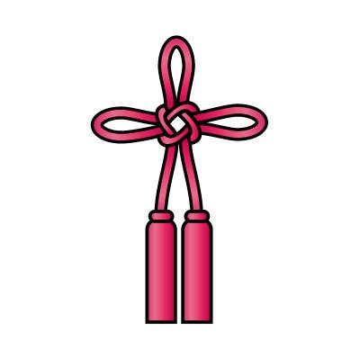 ピンク色の総角結び(あげまき)のイラスト