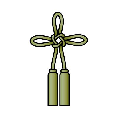 緑色の総角結び(あげまき)のイラスト