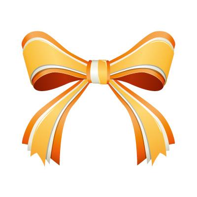 3つからなるオレンジ色のリボンイラスト