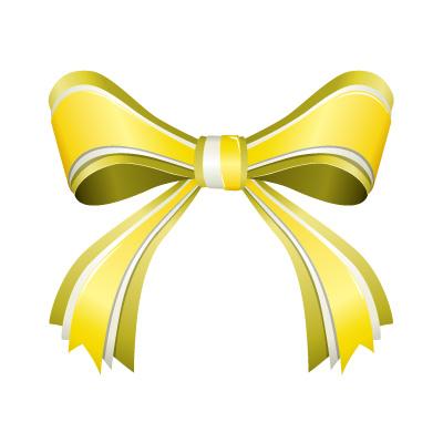 3つからなる黄色のリボンイラスト