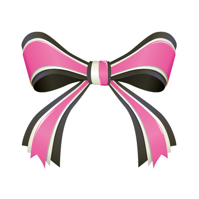 黒とピンク色のリボンイラスト