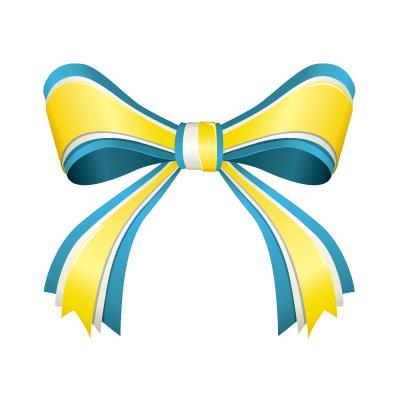 青と黄色のリボンイラスト