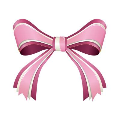 3つからなるピンク色のリボンイラスト
