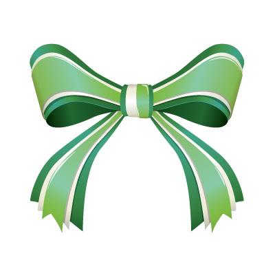 3つからなる緑色のリボンイラスト
