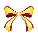 赤と黄色のリボンイラスト