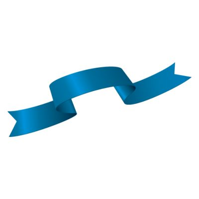波打つ青いリボン・帯のイラスト