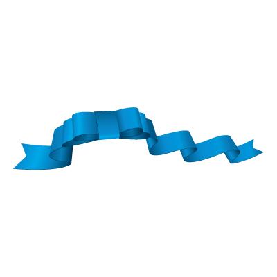 青いリボン・帯のイラスト