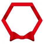 赤いリボン・帯の六角フレームイラスト