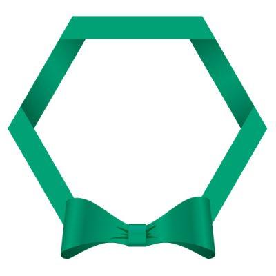 緑色のリボン・帯の六角フレームイラスト