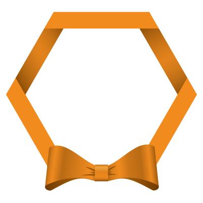 オレンジ色のリボン・帯の六角フレームイラスト