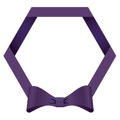 紫色のリボン・帯の六角フレームイラスト