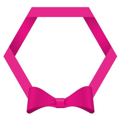 ピンク色のリボン・帯の六角フレームイラスト