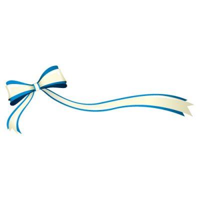 片方が長い、青いリボン・帯のイラスト