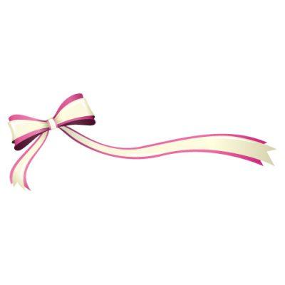 片方が長い、ピンク色のリボン・帯のイラスト