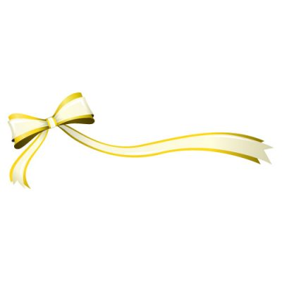 片方が長い、黄色のリボン・帯のイラスト