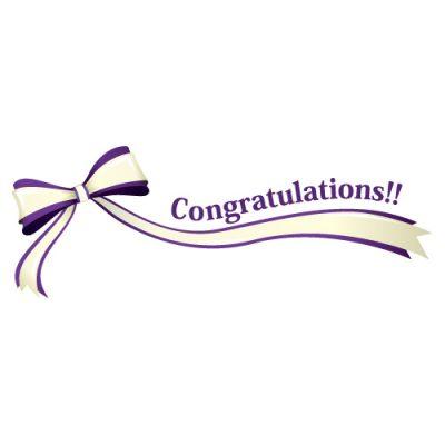 「Congratulations!!」の文字入り、紫色のリボン・帯のイラスト