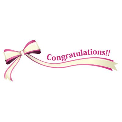 「Congratulations!!」の文字入り、ピンク色のリボン・帯のイラスト
