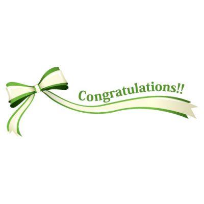 「Congratulations!!」の文字入り、緑色のリボン・帯のイラスト