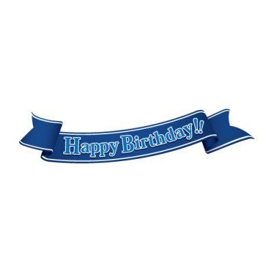 「Happy birthday!」の文字入り、青色の帯のイラスト
