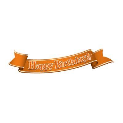 「Happy birthday!」の文字入り、オレンジ色の帯のイラスト