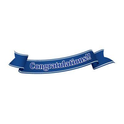 「Congratulations!!」の文字入り、青色の帯のイラスト