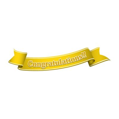 「Congratulations!!」の文字入り、黄色の帯のイラスト