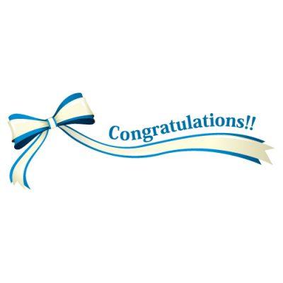 「Congratulations!!」の文字入り、青色のリボン・帯のイラスト