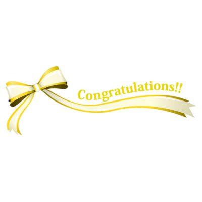 「Congratulations!!」の文字入り、黄色のリボン・帯のイラスト