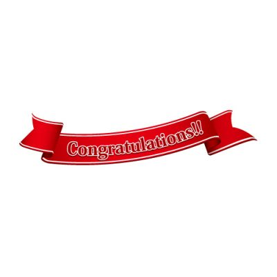 「Congratulations!!」の文字入り、赤色の帯のイラスト